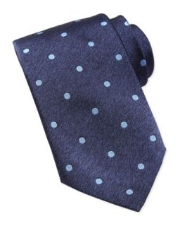 Mens Polka Dot Silk Tie, Blue   Stefano Ricci   Blue