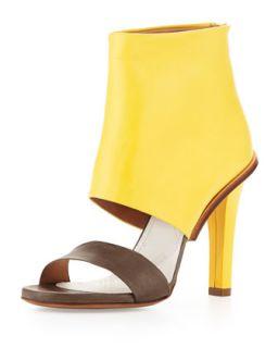Bicolor Leather High Heel Sandal   Maison Martin Margiela   Lime/Mud (37.0B/7.