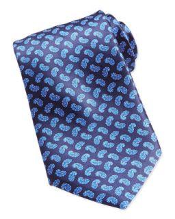 Mens Paisley Print Woven Silk Tie, Blue   Stefano Ricci   Blu 14