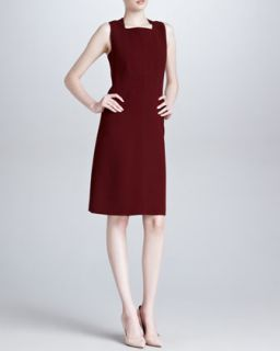 Womens Sleeveless Square Neck Dress, Bordeaux   Derek Lam   Cuir de russe