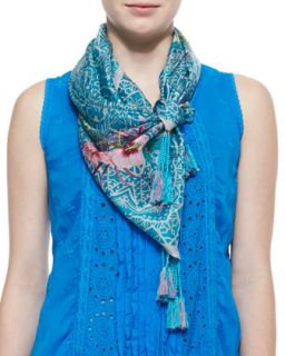 Aziz Printed Silk Scarf   Johnny Was Collection   Multi, aziz print (ONE SIZE)