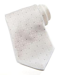 Mens Squares Silk Tie, White   Stefano Ricci   White