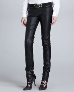 Womens Low Rise Skinny Leather Pants, Black   Oscar de la Renta   Black (6)