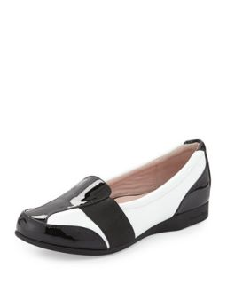 Taurus Flat Slip On Loafer, White/Black   Taryn Rose   White/Black (40.0B/10.0B)