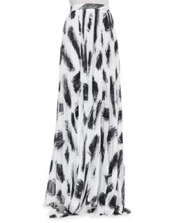 Womens Shannon Pleated Brush Print Maxi Skirt   Alice + Olivia   Brushtroke