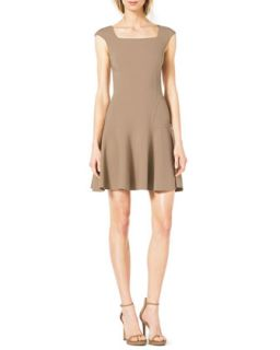Womens Drop Skirt Cap Sleeve Crepe Dress   Michael Kors   Fawn (0)