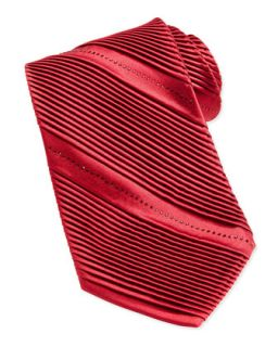Mens Pleated Crystal Silk Tie, Red   Stefano Ricci   Red