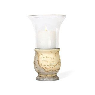 Elements Best Things In Life Candle Holder by Pavilion, 10 1/2 Inch, Inscription The Best Things in Life Are Times   Pillar Holders