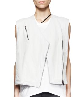 Womens Boxy Leather Biker Vest   Helmut Lang   Nimbus (SMALL)