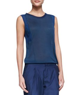 Womens Mixed Fabric Silk Muscle Tee   Vince   Royal blue (X SMALL)