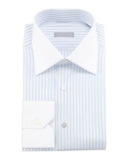 Mens Striped Contrast Collar Dress Shirt, Blue   Stefano Ricci   Blue (43.0/17.