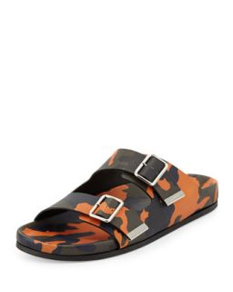 Mens Camo Double Strap Footbed Sandal, Orange   Givenchy   Orange camo (13D/46)