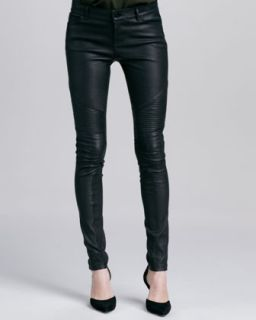 Womens Moto Leather Pants, Black   Vince   Black (12)