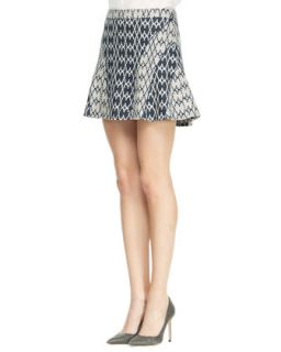 Womens Flared Jacquard Short Skirt   10 Crosby Derek Lam   Mdnght/Soft wht (8)