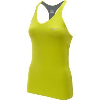 NIKE Womens Advantage Solid Tennis Tank   Size Medium, Venom Green/silver