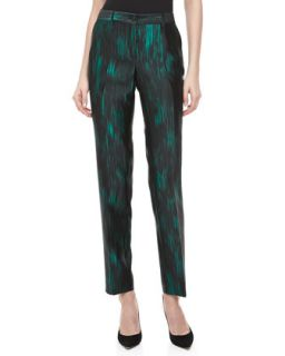 Womens Samantha Ankara Shantung Pants   Michael Kors   Emerald multi (2)
