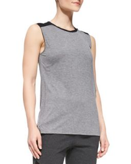 Womens Contrast Trim Slub Muscle Tee   Vince   Dk. h. grey/Black (SMALL)
