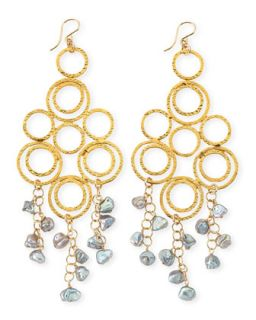 Gray Freshwater Pearl Multi Circle Chandelier Earrings   Devon Leigh   Gray