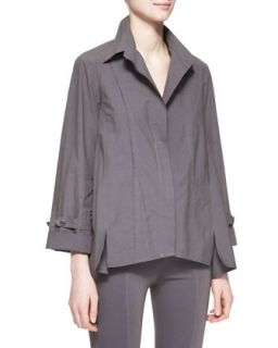 Womens Long Sleeve Roll Sleeve Button Up Cotton Shirt, Slate   Donna Karan