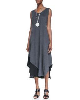 Sleeveless Colorblock V Neck Jersey Dress, Womens   Eileen Fisher