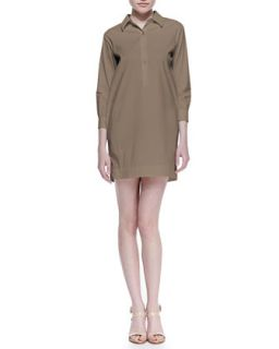 Womens Bracelet Sleeve Shirtdress, Tobacco   Theory Icon   Tobacco (SMALL)