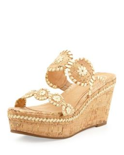 Leigh Double Strap Wedge Sandal, Gold/Cork   Jack Rogers   Gold/Cork (37.5B/7.