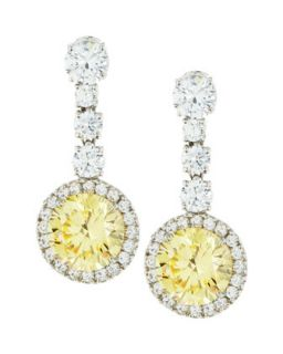 Round Canary Cubic Zirconia Drop Earrings, 7.5 TCW   Fantasia by DeSerio