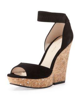 Una Cork Wedge Sandal, Black   Pelle Moda   Black (7B)