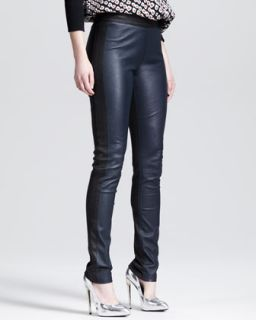 Womens Two Tone Stretch Leather Leggings   10 Crosby Derek Lam   Black navy (4)