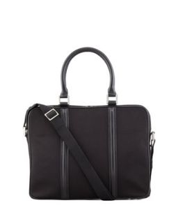 Mens Zip Top Canvas Briefcase, Black   WANT Les Essentiels de la Vie   Black
