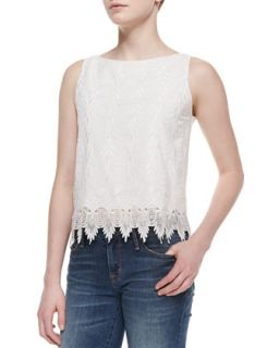 Womens Anya Sleeveless Embroidered Top   Alice + Olivia   Off white (LARGE)
