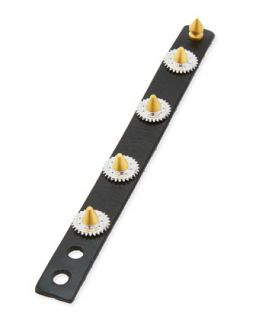 Casing Studded Leather Bracelet, Black   Eddie Borgo   Tri tone