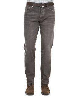 Mens 5 Pocket Denim Jeans, Tobacco   Brunello Cucinelli   C1753 (48)