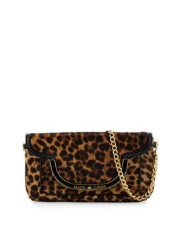 Greta Cheetah Print Calfskin Shoulder Bag, Golden Cheetah   Elaine Turner