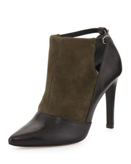 Casia Two Tone Textured Ankle Bootie, Black Olive   10 Crosby Derek Lam