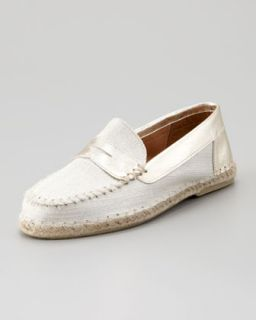Espadrille Penny Loafer, White/Gold   Jacques Levine   White/Gold (37.0B/7.0B)