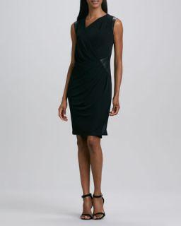 Womens Asymmetric Leather Trim Jersey Dress   DKNY   Black/Black (X