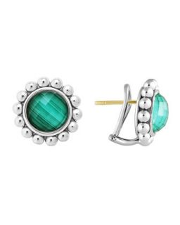 Silver Maya Malachite Large Caviar Stud Earrings   Lagos   Silver (LARGE )