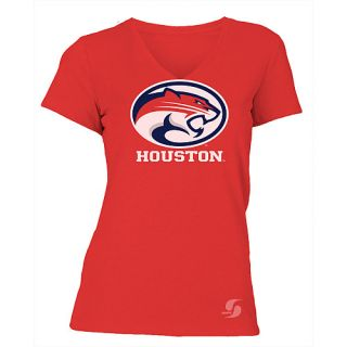 SOFFE Womens Houston Cougars No Sweat V Neck Short Sleeve T Shirt   Size: