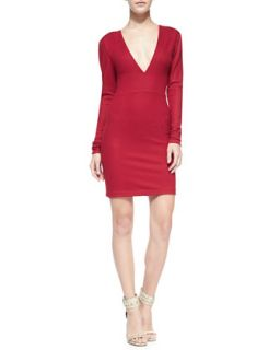 Womens Fiona Deep V Long Sleeve Sweaterdress   Alice + Olivia   Royal red (4)