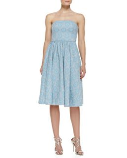 Womens Strapless Jacquard Party Dress, Light Blue/Multicolor   Ali Ro   Light