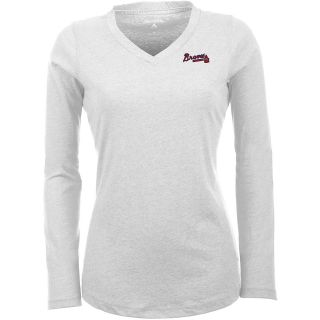 Antigua Atlanta Braves Womens Flip Long Sleeve V neck T Shirt   Size: Large,