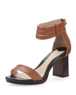Marcel Triple Split Ankle Wrap City Sandal, Toffee   10 Crosby Derek Lam