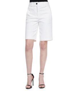 Womens Flat Front Long Shorts, White   Robert Rodriguez   White (10)