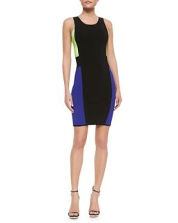 Womens Color Panel Sleeveless Body Con Dress   Milly   Black/Fluo yellow