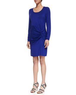 Womens Ruched Front Jersey Dress, Twilight Blue   Laundry by Shelli Segal
