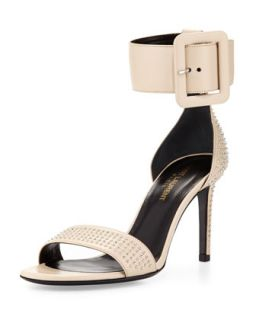 Mid Heel Ankle Wrap Studded Sandal, Nude   Saint Laurent   Nude (37.0B/7.0B)