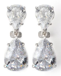 Two Pear Drop Cubic Zirconia Earrings   Fantasia by DeSerio   White gold