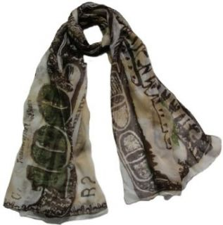Seamaidmm One Hundred USA Dollar Bill Money Franklin Print Voile Scarf Brown