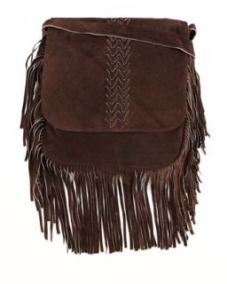 Jessica Suede Fringed Crossbody Bag, Brown   Raj